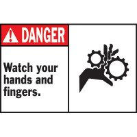 Machine Warning Labels - Danger Watch Your Hands