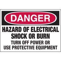 Electrical Warning Labels - Danger Hazard Of Electrical Shock