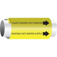 Setmark® Snap-Around Pipe Markers - Heating Hot Water Supply