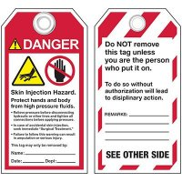 ANSI Skin Injection Hazard Tags