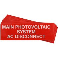 """Main Photovoltaic System AC Disconnect"" Solar Warning Labels"