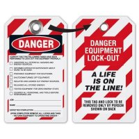 Danger A Life Is On The Line! - Heavy Duty Plastic Tag Lockout Tag