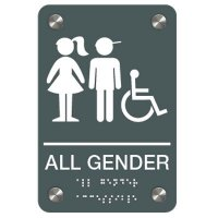 All Gender (Boy/Girl Accessibility Symbols) - Premium ADA Braille Restroom Signs