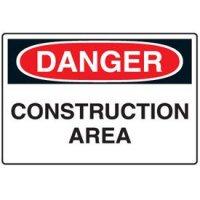 Disposable Plastic Corrugated Signs - Danger Construction Area
