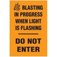 Blasting Barricade Sign Stands - Blasting In Progress When Light Is Flashing Do Not Enter