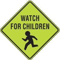 Fluorescent Pedestrian Signs - Watch For Children (Graphic)