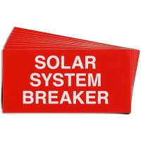 """Solar System Breaker"" Solar Warning Labels"