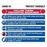 Protect Yourself COVID-19 Preventive Measures Board