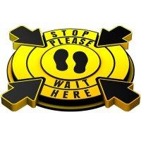 3D Floor Marker - Stop Please Wait Here - Yellow