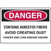 Asbestos Warning Signs - Danger Contains Asbestos Fibers