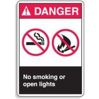 ANSI Z535 Safety Signs - Danger No Smoking Or Open Lights