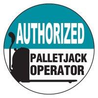 Safety Hard Hat Labels - Authorized Pallet Jack Operator