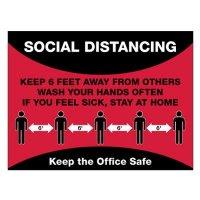 Temporary Social Distance Floor Signs - Keep The Office Safe