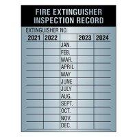 Aluminum Fire Extinguisher Inspection Labels - 2021-2024