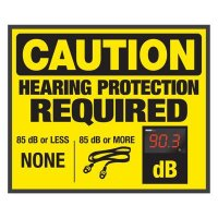 Decibel Meter Sign - Hearing Protection Required (Earplugs Symbol)