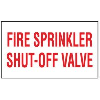 Adhesive Vinyl Fire Exit Signs - Fire Sprinkler Shut-Off Valve