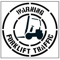 Floor Stencils - Warning Forklift Traffic (With Graphic)