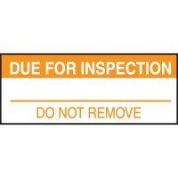 Write-On Labels - DUE FOR INSPECTION