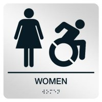 Women with Dynamic Accessibility Graphic - Graphic Braille Signs
