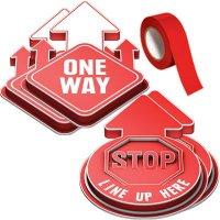 3D Social Distancing Label Kit for Hallways - Red