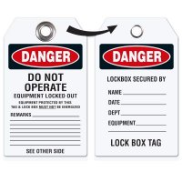 Danger Do Not Operate - Heavy Duty Plasti Lockout Tag