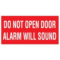 Adhesive Vinyl Fire Exit Signs - Do Not Open Door Alarm Will Sound