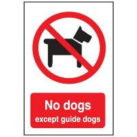 Face Adhesive Signs - No Dogs Except Guide Dogs