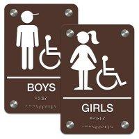 Boys/Girls Bathroom Sign Sets - Braille/Accessibility