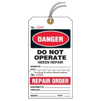 Tear-Off Jumbo Danger Do Not Operate Needs Repair Tags