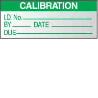 Write On Labels - Calibration I.D. No.__By__Date__Due__