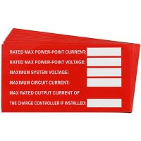 Max Power Solar Warning Labels