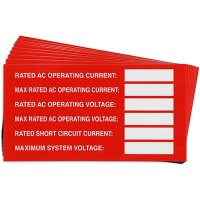 Operating Current Solar Warning Labels