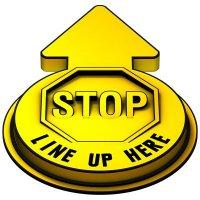 Stop Line Up Here Outdoor 3D Floor Sign - Yellow