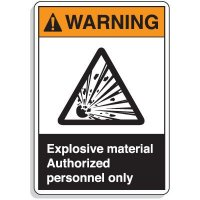 ANSI Z535 Safety Signs - Warning Explosive Material