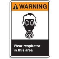 ANSI Z535 Safety Signs - Warning Wear Respirator
