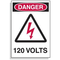 Lockout Hazard Warning Labels- Danger 120 Volts w/ Graphic