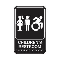 Children's Restroom W/ Dynamic Accessibility - Graphic ADA Tactile Signs