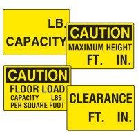 Semi-Custom Clearance and Capacity Signs
