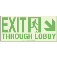 Exit Through Lobby Lower Right Arrow - Hi-Intensity Photoluminescent Signs