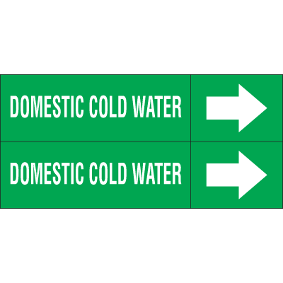 Weather-Code™ Self-Adhesive Outdoor Pipe Markers - Domestic Cold Water