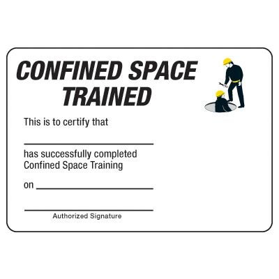 Confined Space Trained Certification Wallet Card