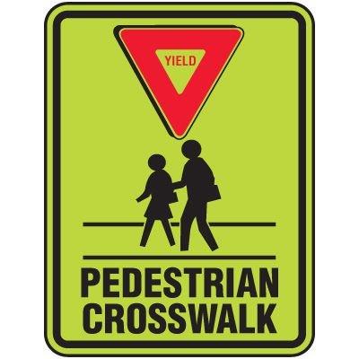 Fluorescent Yield Pedestrian Crosswalk Sign