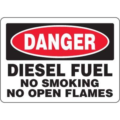 Eco-Friendly Signs - Danger Diesel Fuel No Smoking No Open Flames