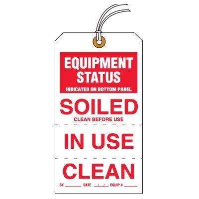 Tear-Off Jumbo Equipment Status Soiled Tags