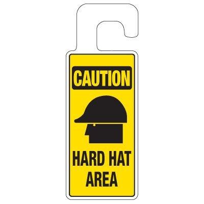 Door Knob Hangers - Caution Hard Hat Area