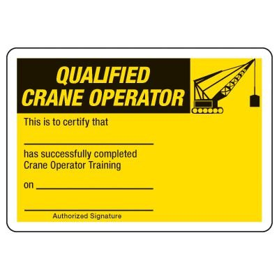 Qualified Crane Operator Certification Card - Wallet Size