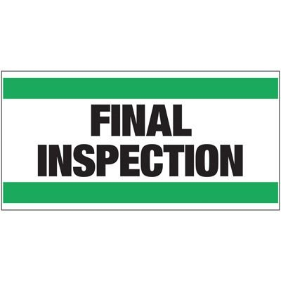 Giant Quality Control Wall Sign - Final Inspection