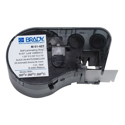 Brady M-51-427 BMP51/BMP41 Label Cartridge - Black on White/Clear