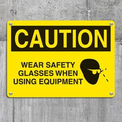 Equipment Hazard Mini Safety Signs - Caution Wear Safety Glasses When Using Equipment