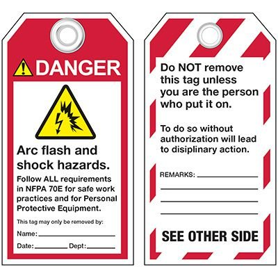 ANSI Arc Flash And Shock Hazard Warning Tags